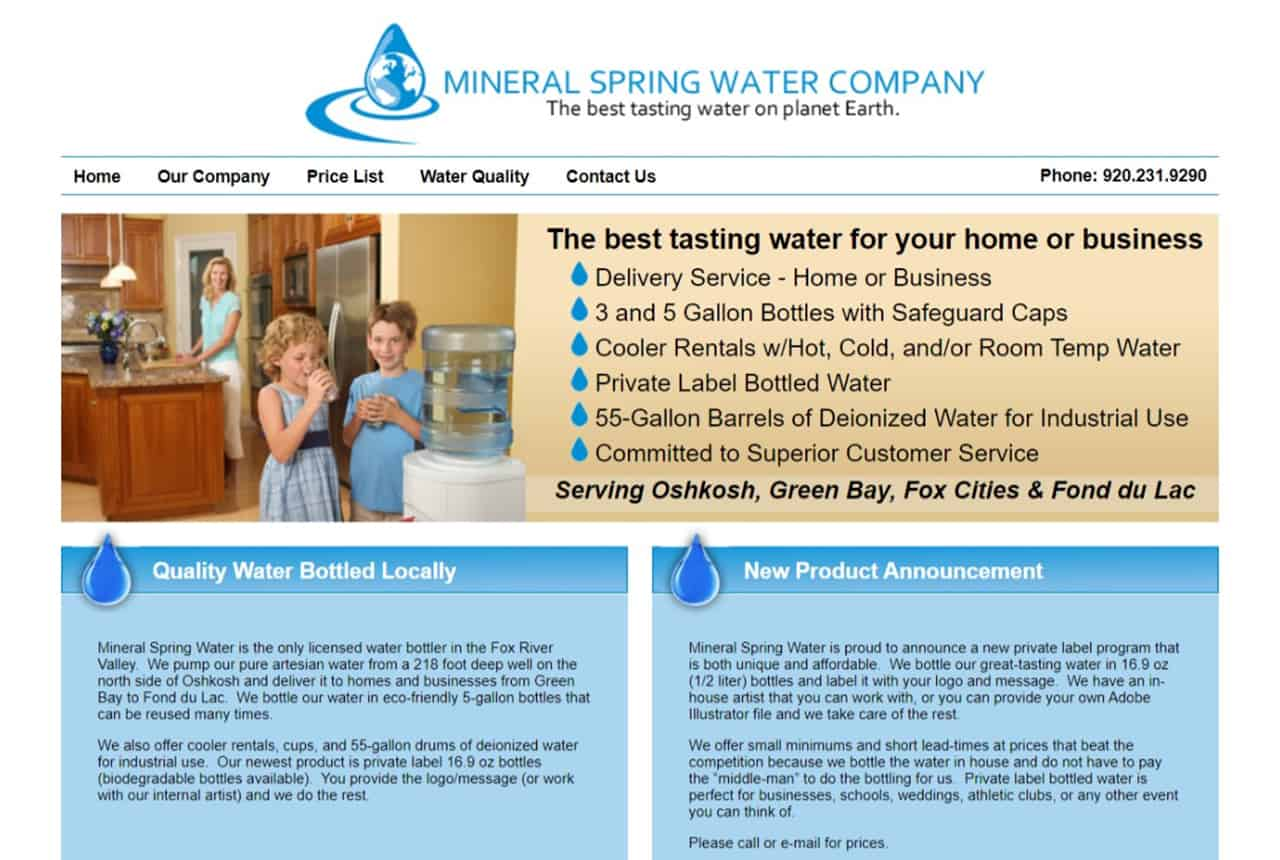 Mineral Spring Water Company Website