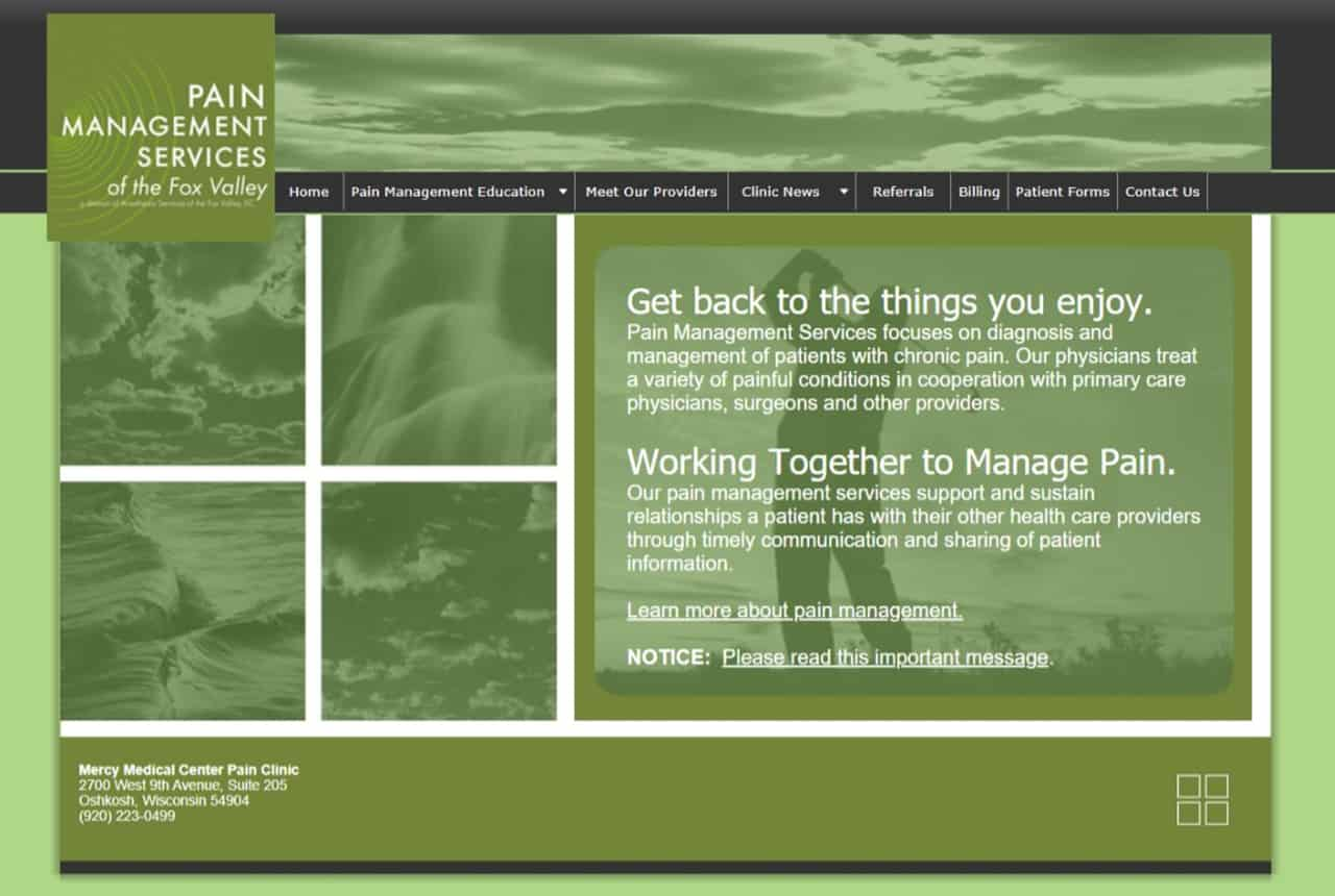 Pain Management Services Website