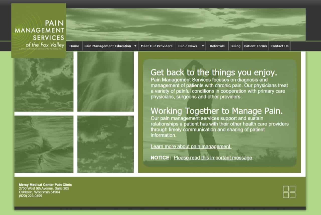 Pain Management Services Website
